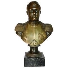 19th Century French Bronze Bust of an Officer on a Black Base