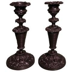 19th Century French Bronze Candlesticks