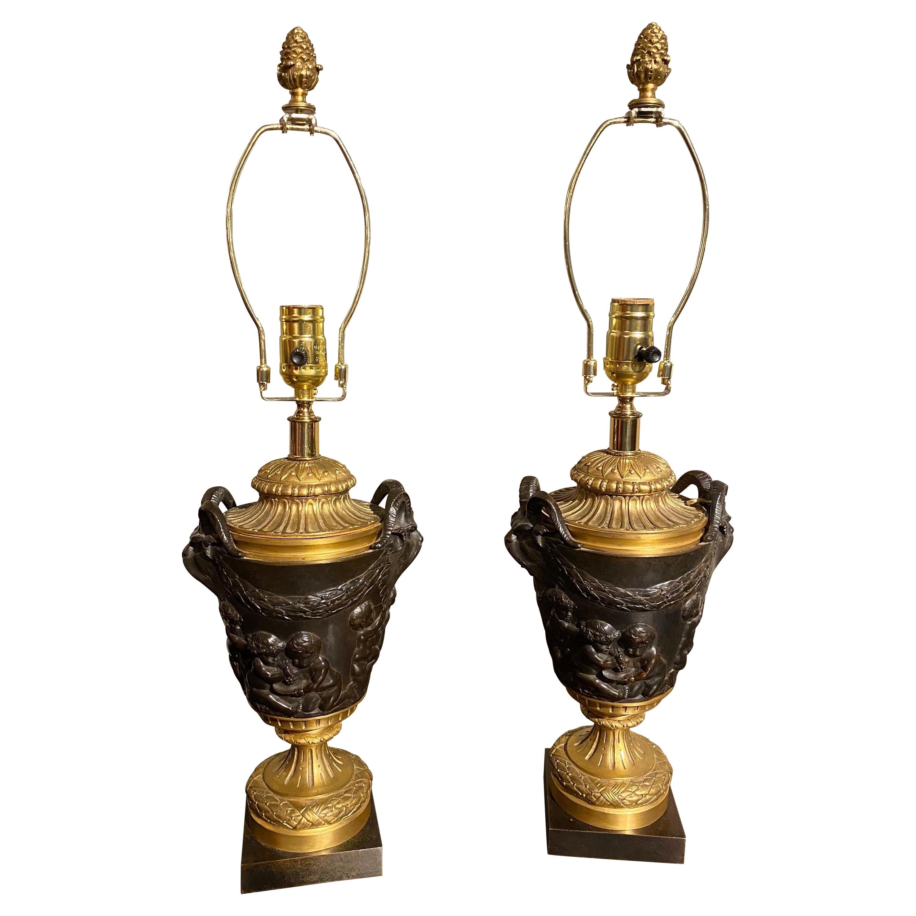 19th Century French Bronze Cassoullettes Mounted as Lamps