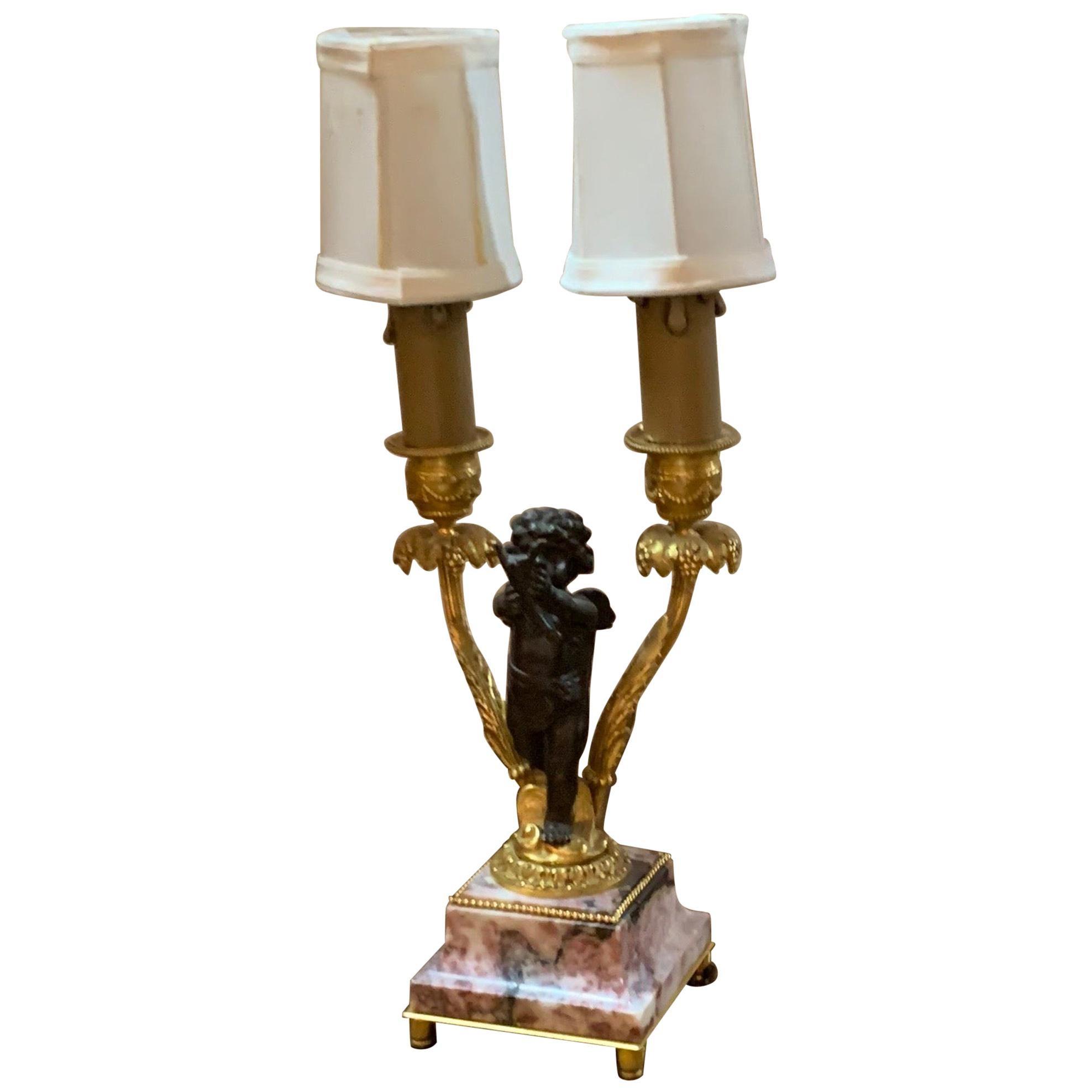 19th Century French Bronze Cherub Lamp on Marble Base