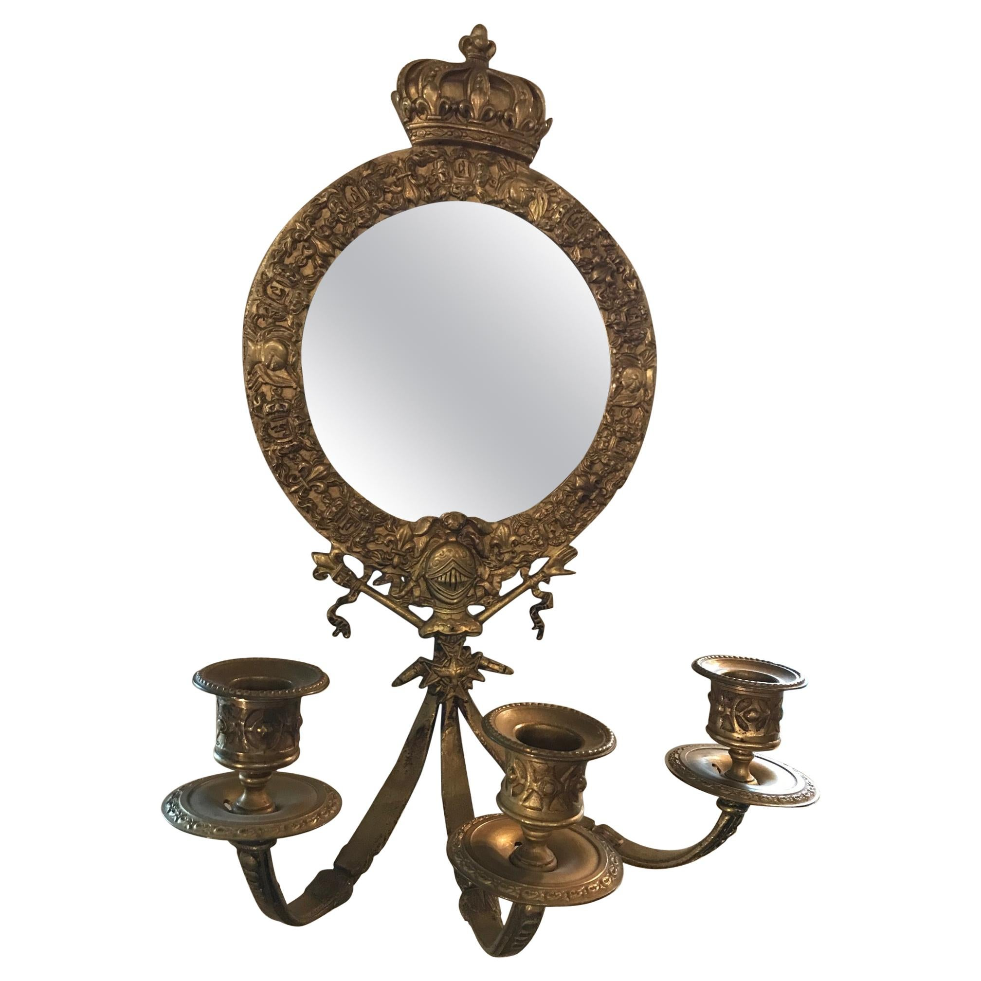 19th Century French Bronze Crown Mirror Candle Sconce