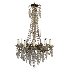 19th Century French Bronze Dore Crystal Chandelier