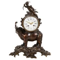 19th Century French Bronze Elephant Mantel Clock