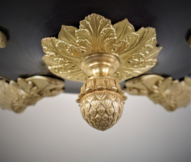 19th Century French Bronze Empire Chandelier For Sale 3