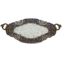 19th Century French Bronze Enamel Onyx Champlevé Dresser Tray