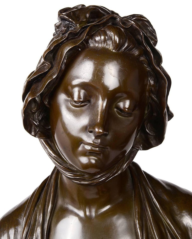 19th Century French Bronze Female Bust, Signed E. Laurent In Excellent Condition For Sale In Brighton, Sussex