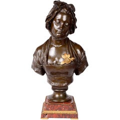 19th Century French Bronze Female Bust, Signed E. Laurent