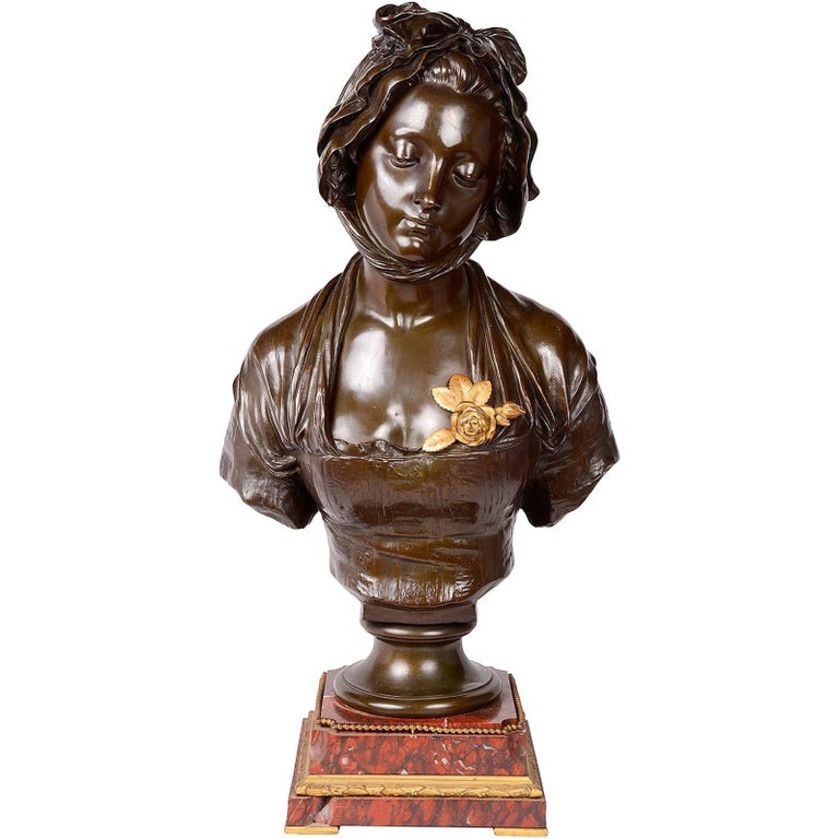 19th Century French Bronze Female Bust, Signed E. Laurent For Sale