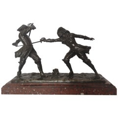 19th Century French Bronze Fencing Sculpture by Edouard Drouot
