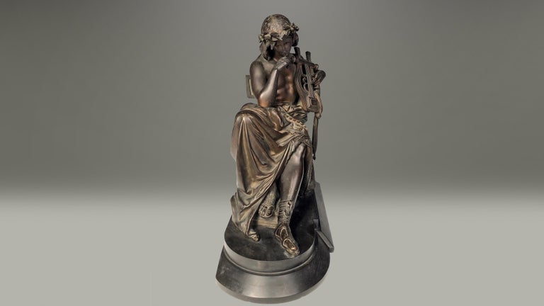 Neoclassical 19th Century French Bronze Figure of Orpheus For Sale