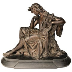 19th Century French Bronze Figure of Orpheus