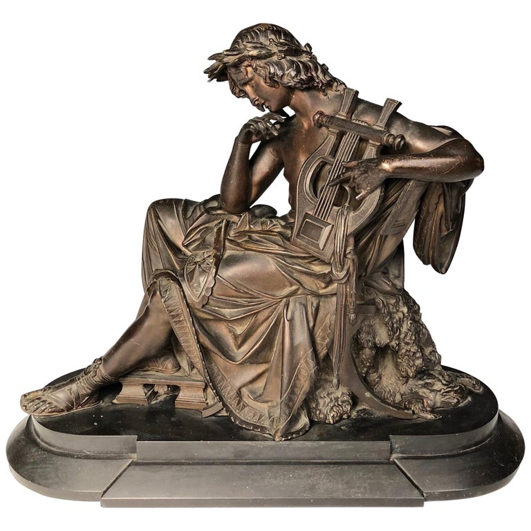 19th Century French Bronze Figure of Orpheus For Sale