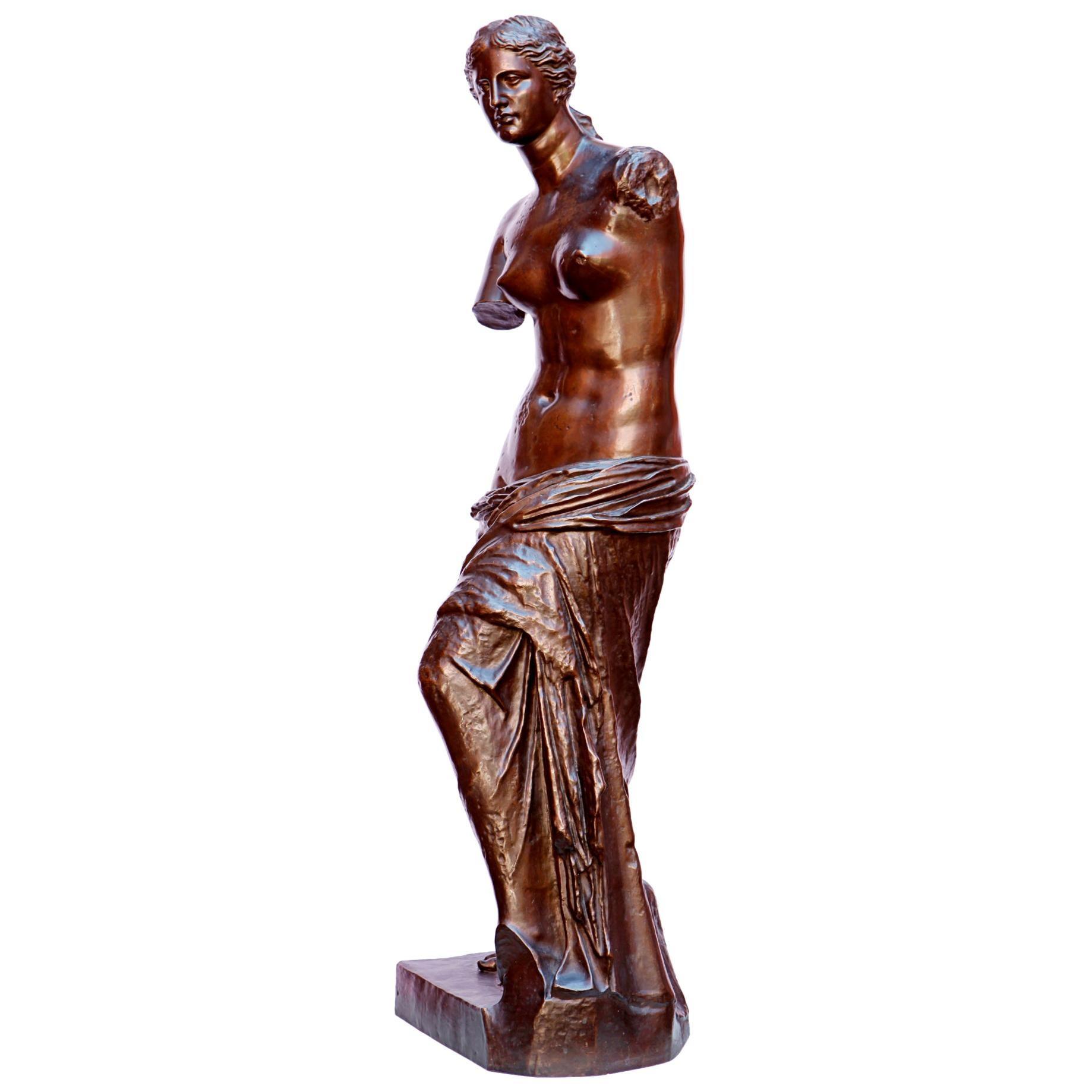 19th Century French Bronze Figure of Venus de Milo Signed Barbedienne