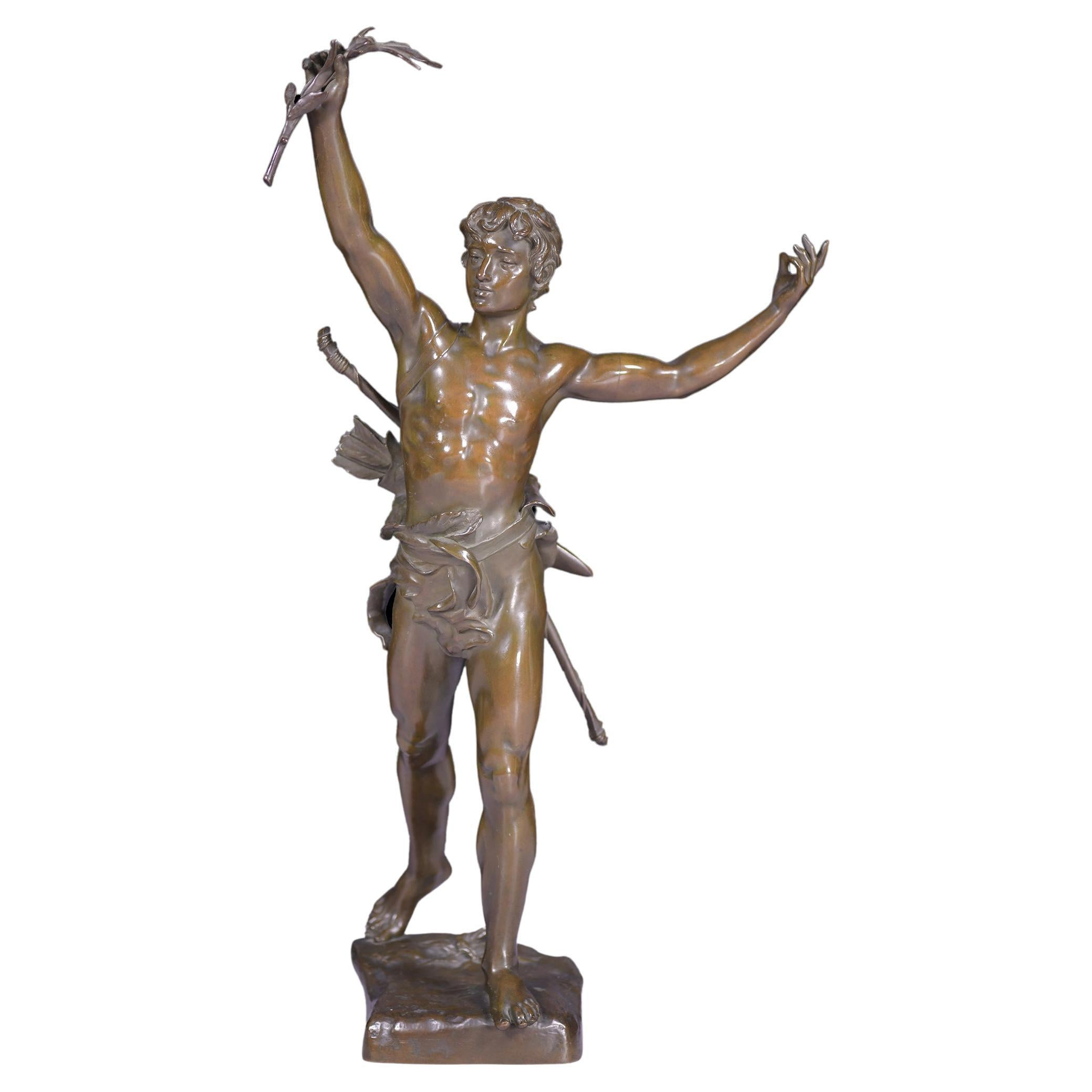 """19th Century French Bronze Figure of """"Victorious Archer"""" After Eugene Marioton"""