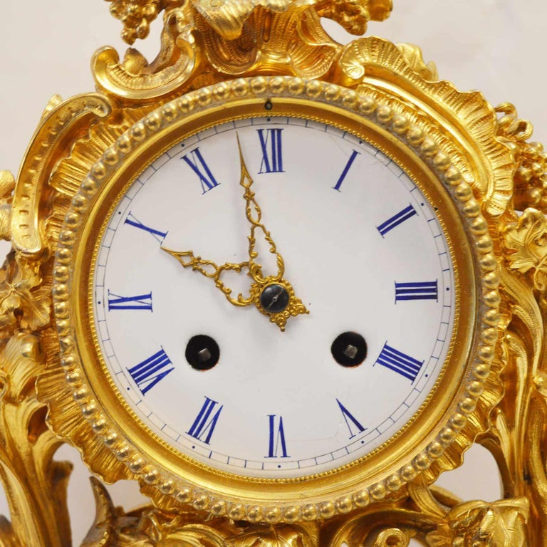 19TH Century French Bronze Gold Plated Clock For Sale 1