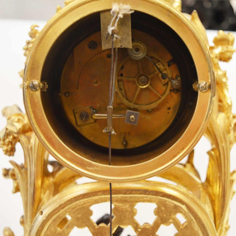 19TH Century French Bronze Gold Plated Clock For Sale 2