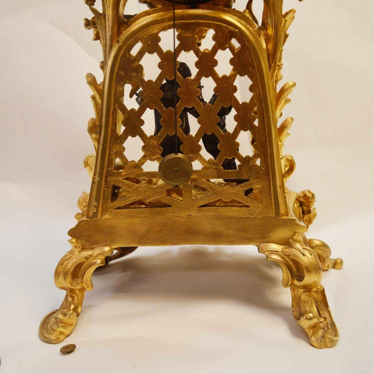 19TH Century French Bronze Gold Plated Clock For Sale 3