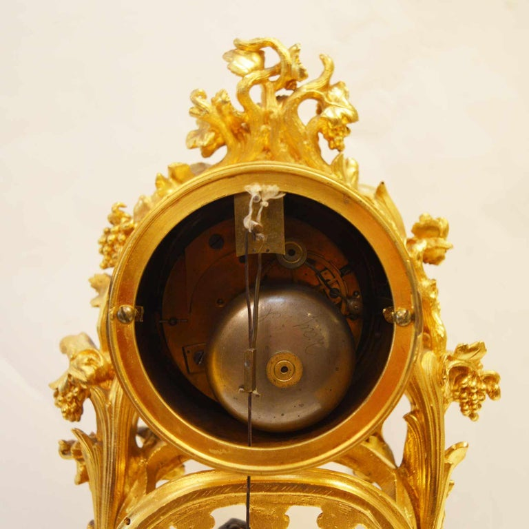 19TH Century French Bronze Gold Plated Clock For Sale 4