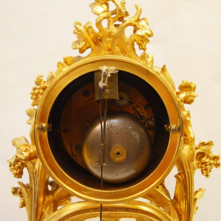 19TH Century French Bronze Gold Plated Clock For Sale 5