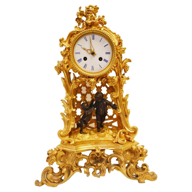 19TH Century French Bronze Gold Plated Clock For Sale
