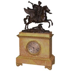 19th Century French Bronze Horse, Ormolu and Sienna Marble Mantel Clock