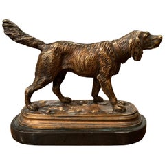19th Century French Bronze Hunt Dog Sculpture on Marble Base after Jules Moiniez