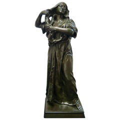 19th Century French Bronze Lady Washing Her Hair