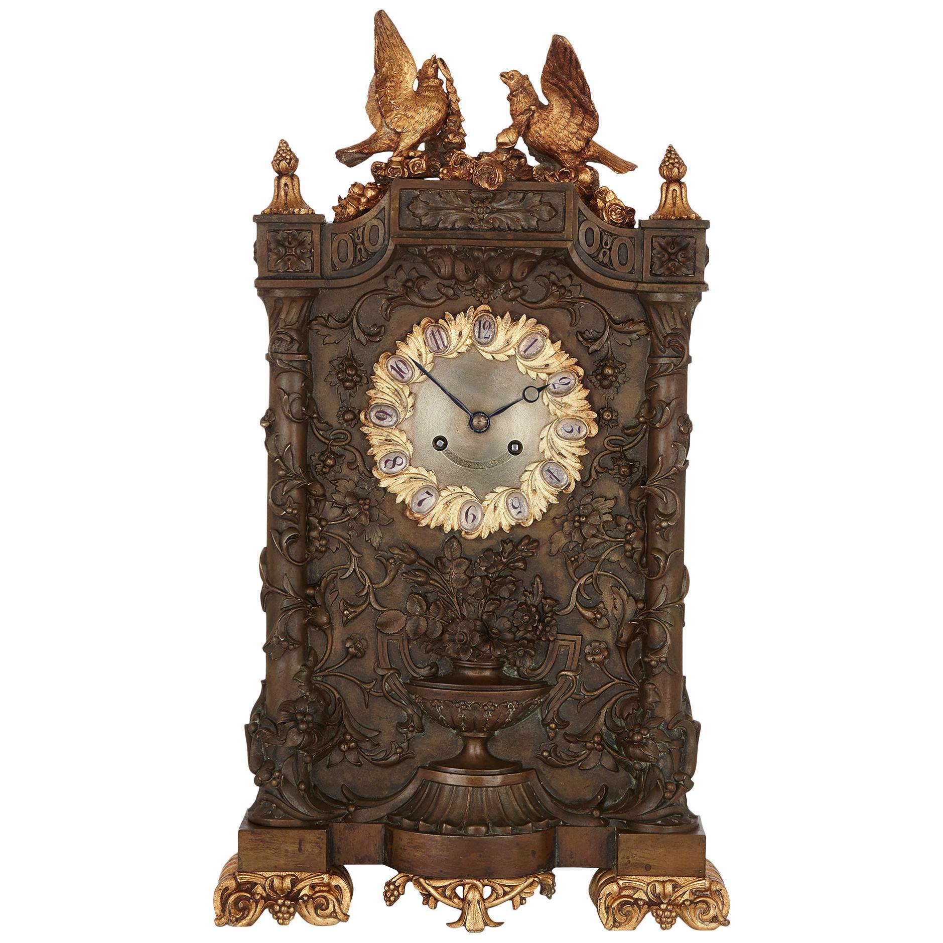 19th Century French Bronze Mantel Clock by Deniere & Fils