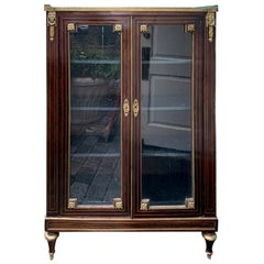 19th Century French Bronze Mounted Bibliotheque with Glass Doors
