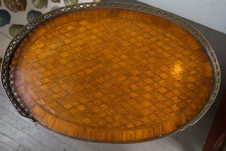 Louis XV 19th Century French Bronze Mounted Parquetry Side Table For Sale