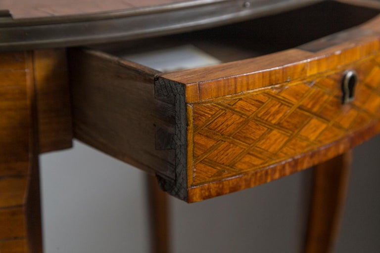 Veneer 19th Century French Bronze Mounted Parquetry Side Table For Sale
