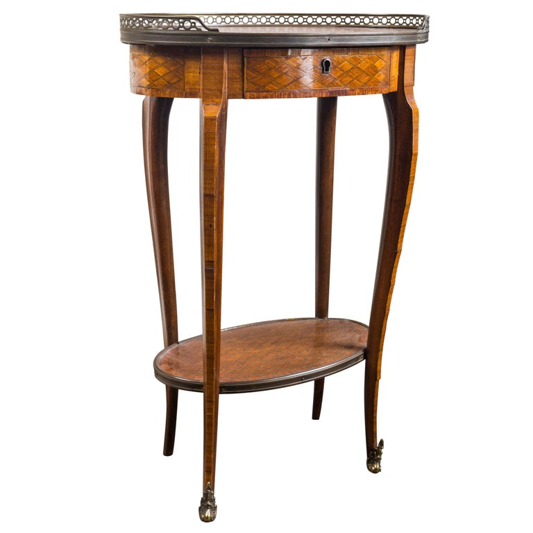 19th Century French Bronze Mounted Parquetry Side Table For Sale