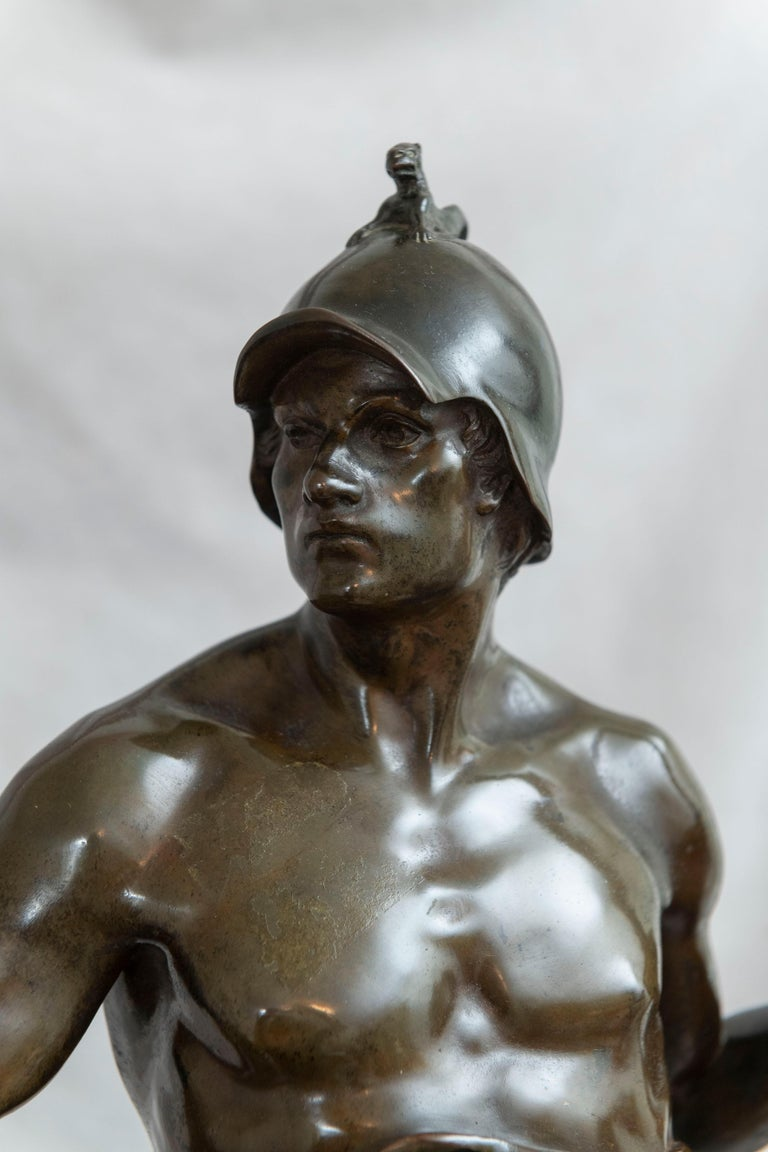 19th Century French Bronze of a Warrior, Artist Signed Picault, Titled