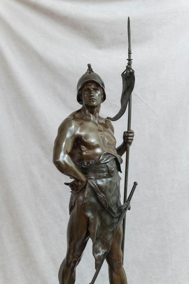 This impressive masculine warrior is signed by the well regarded, and prolific artist, Emile Picault (1833-1915). It also bears the plaque