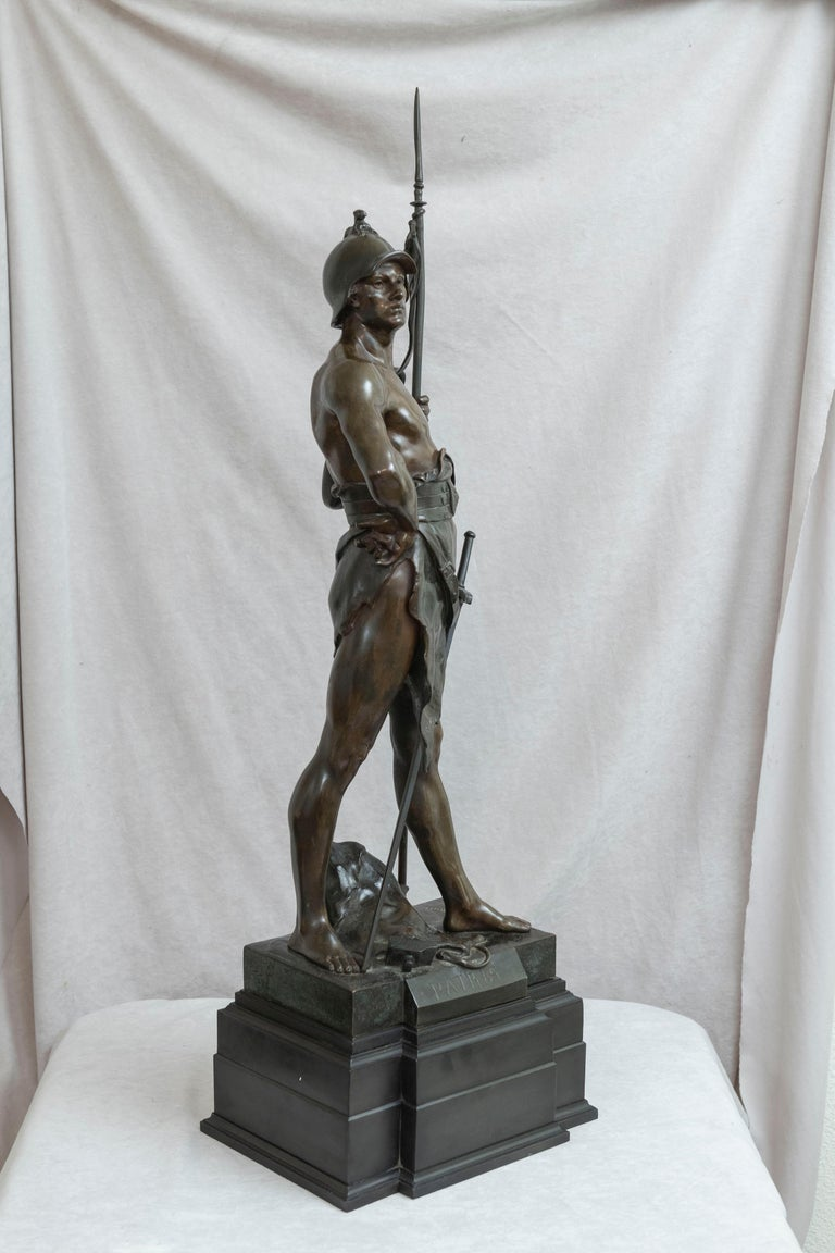 Beaux Arts 19th Century French Bronze of a Warrior, Artist Signed Picault, Titled