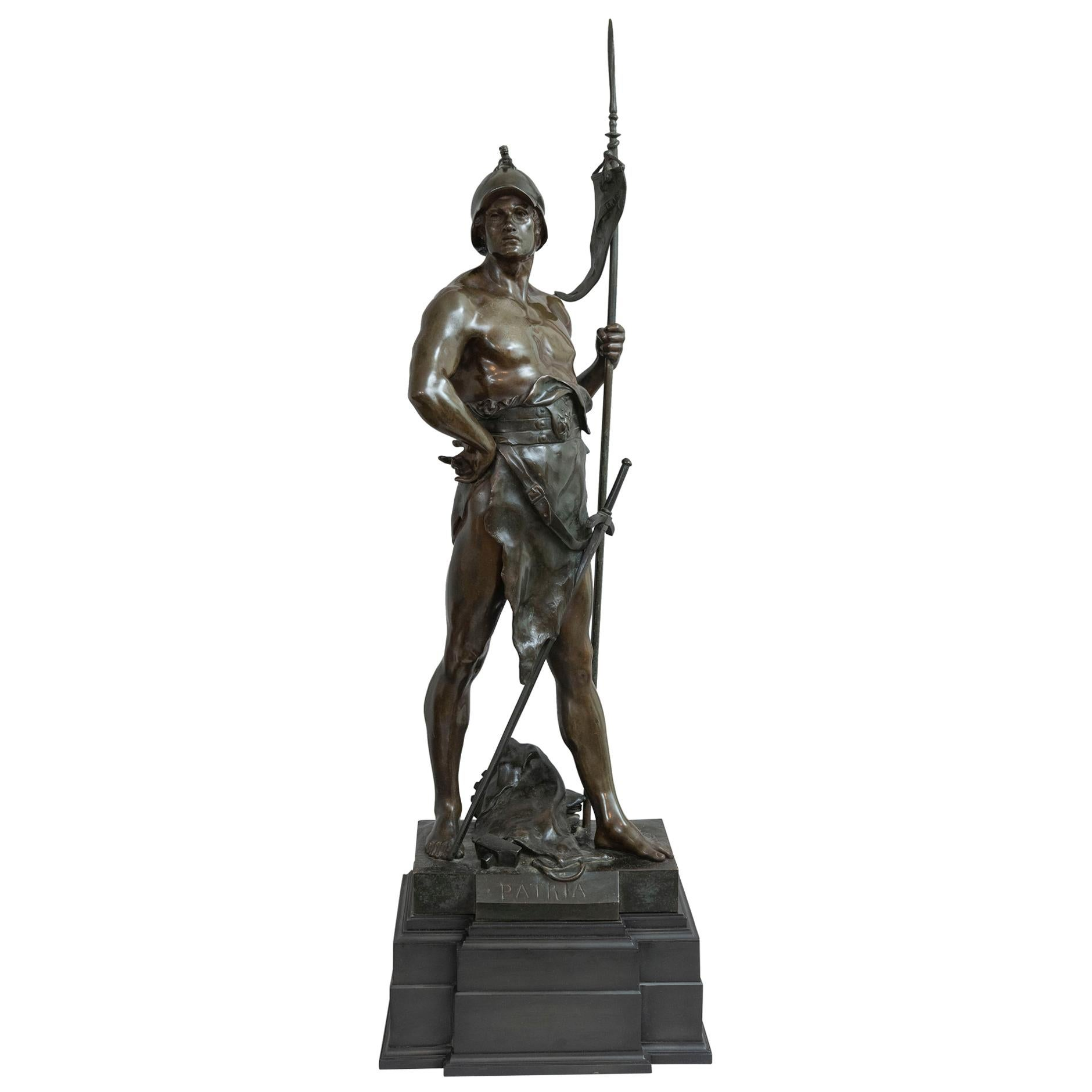 """19th Century French Bronze of a Warrior, Artist Signed Picault, Titled """"Patria"""""""