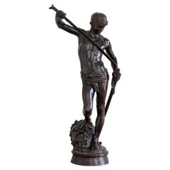 19th Century French Bronze of David Slaying Goliath by Barbedienne