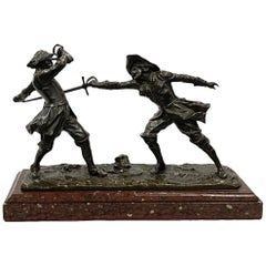 19th Century French Bronze Pair of Fencers, by Drouot