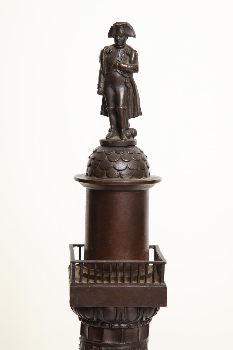 Grand Tour 19th Century French, Bronze Place Vendome Column For Sale