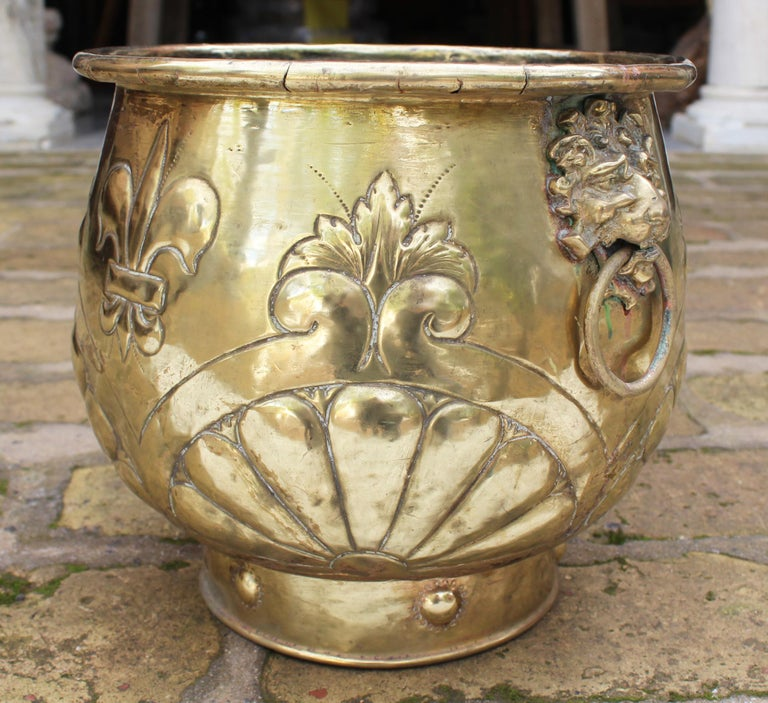 20th Century 19th Century French Bronze Planter with Fleur-de-lis and Lion Head Side Handles For Sale
