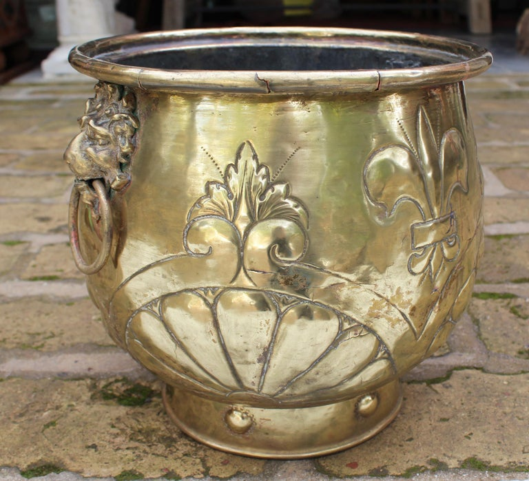 19th Century French Bronze Planter with Fleur-de-lis and Lion Head Side Handles For Sale 4