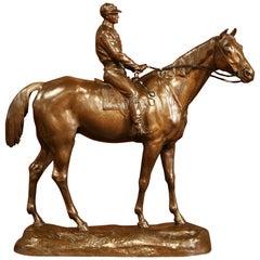 19th Century French Bronze Racehorse and Jockey Sculpture Signed Paul Comolera