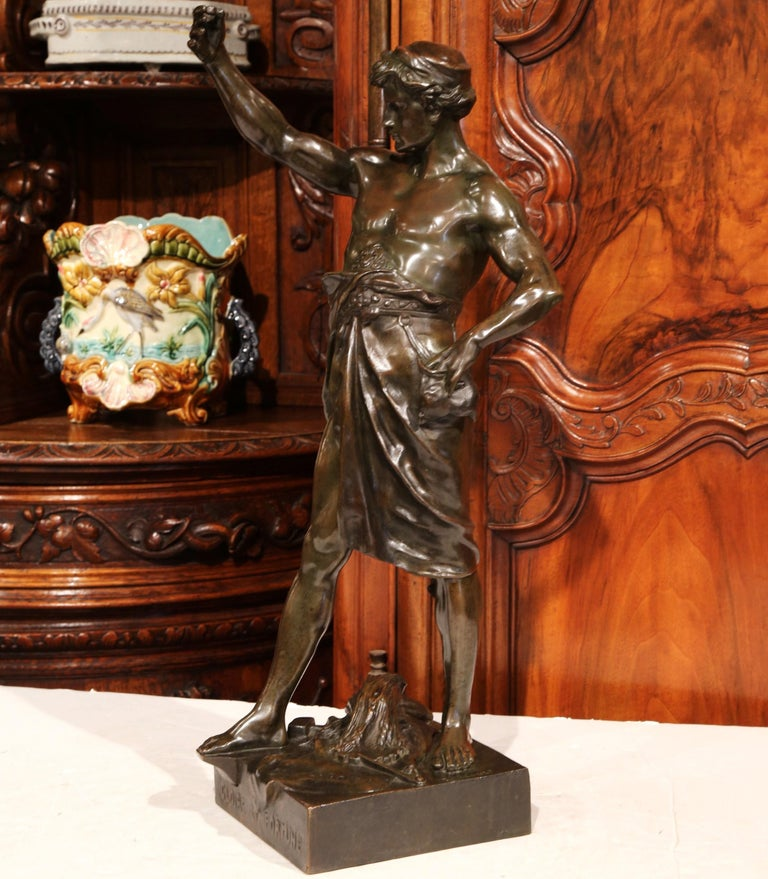 Decorate a gentleman's study with this fine bronze figure. Sculpted in France, circa 1880 and is titled