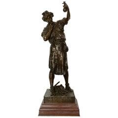 19th Century French Bronze Sculpture 'Le chercheurby' Émile Louis Picault