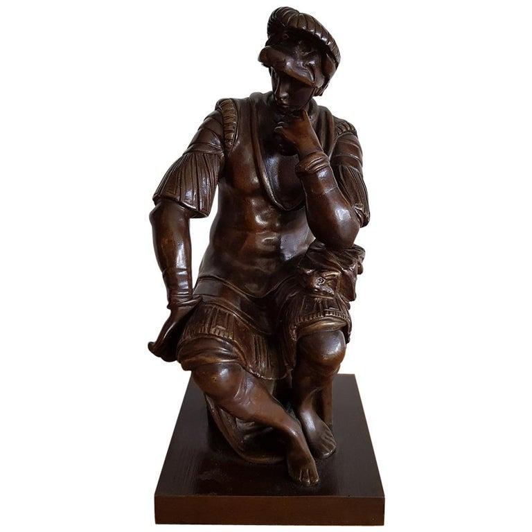 "19th Century French Bronze sculpture ""Lorenzo de Medici"" after Michelangelo For Sale"
