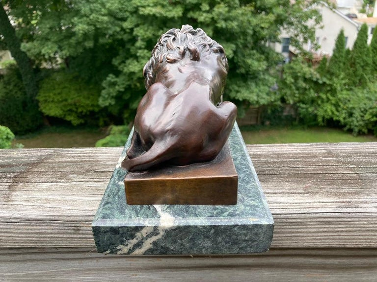 19th Century French Bronze Sculpture of Sleeping Lion by Jules Moigniez For Sale 5