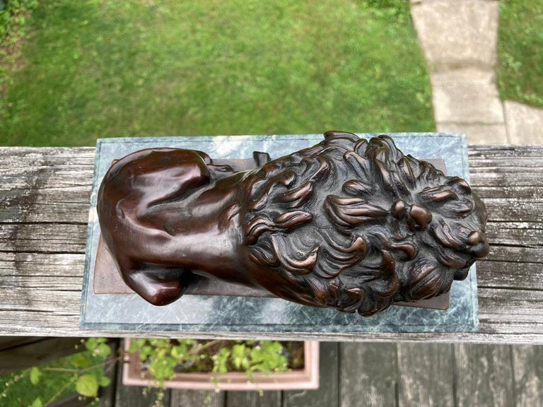 19th Century French Bronze Sculpture of Sleeping Lion by Jules Moigniez For Sale 3