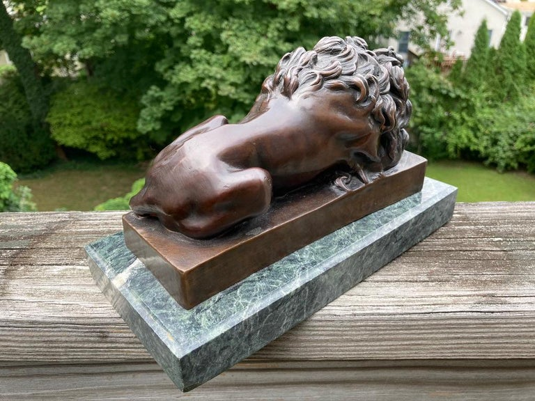 19th Century French Bronze Sculpture of Sleeping Lion by Jules Moigniez For Sale 4