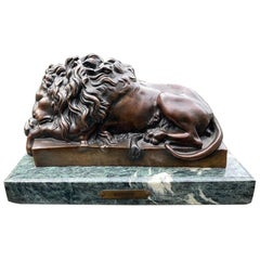 19th Century French Bronze Sculpture of Sleeping Lion by Jules Moigniez
