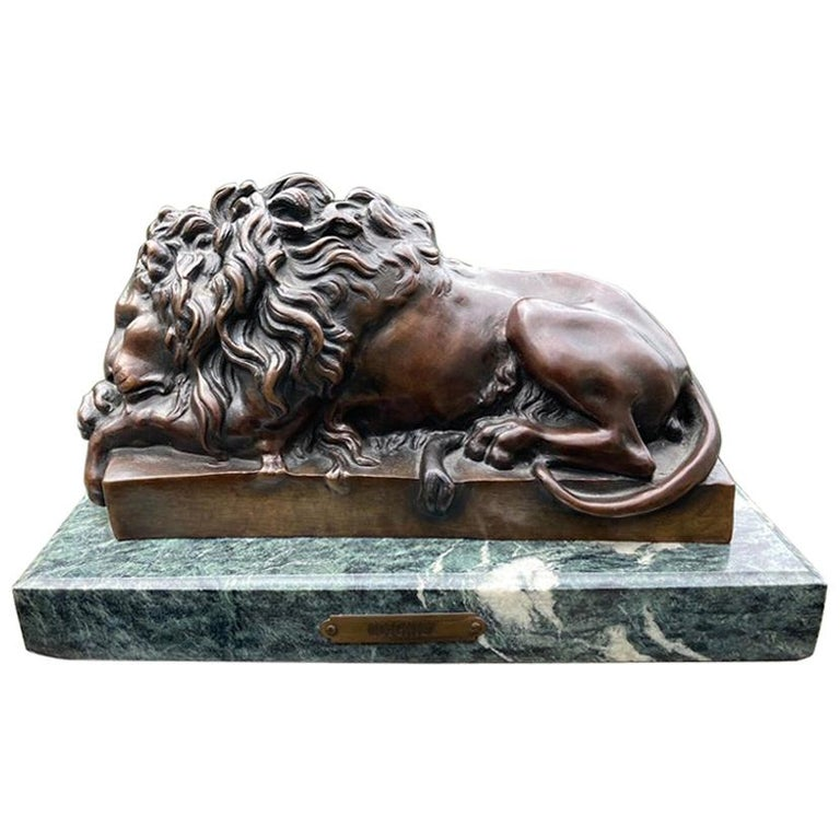 19th Century French Bronze Sculpture of Sleeping Lion by Jules Moigniez For Sale